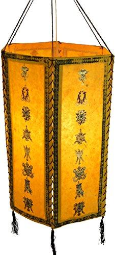 Guru-Shop Reispapier Hängelampe Sechseckig Rice.5, Gelb, Lokta-Papier, Farbe: Gelb, 40x30x30 cm, Lampenschirm, Deckenleuchte