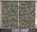 Ambesonne Camouflage Curtains, Monochrome Attire Pattern Concealing Hiding in The Woods Themed Print, Living Room Bedroom Window Drapes 2 Panel Set, 108' X 63', Green Khaki