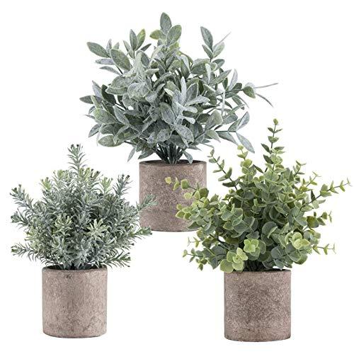 ROMAY Mini-Pflanzen, künstliche Pflanzen, Eukalyptus, Rosmarin in Töpfen für Zuhause, Büro, Badezimmer, Bücherregal, Tischdekoration, 3 Stück Eucalyptus Plant Green Grey a