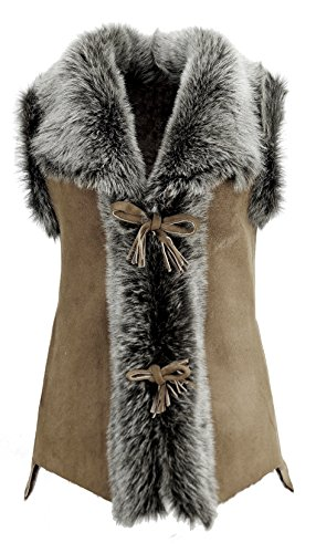 DX-Exclusive wear Damen Weste Lammfellweste, Schaffellweste, Lederweste, Gilet, Fell, Toscana KK-0020 (36, beige)
