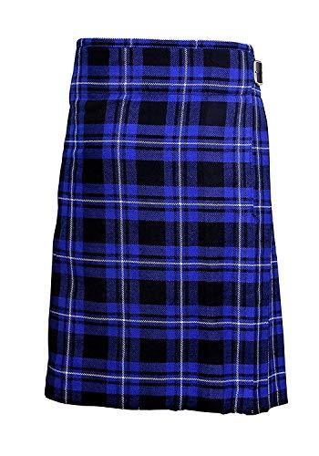Azul Tartán Hombre 4.6m Escocés Faldas Escocesas TARTÁN KILT 369ml Highland Informal Kilt - Azul, 32'