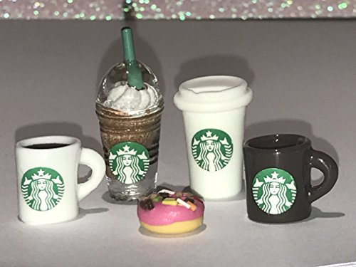 Set of 5 Dollhouse Mini Starbucks Coffees Drinks and Doughnut - Littlest Pet Shop LPS CUSTOM Accessories / Barbie Food (Brown Frappe)