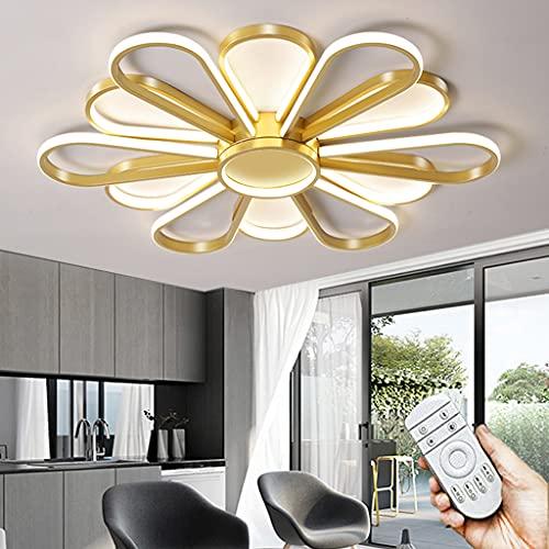 Lámpara De Techo Regulable Plafón Moderna De Creatividad LED Con Control Remoto 3000K-6000K Lámpara De Guardería De Silicona De Aluminio Niños Niñas Iluminación De Techo Para Dormitorio (Golden,80CM)