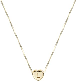 Women Initial Necklace Choker Gold Tiny Heart Pendant Love Engraved Alphabet Letter 14K Gold Filled Dainty Chain Short Boho Beach Simple Delicate Handmade Jewelry Gift