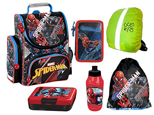 Spiderman SET Schulranzen ergonomischer Ranzen Federmappe Lunchset Turnbeutel Regenschutz 6 teiliges Set Lizenzartikel