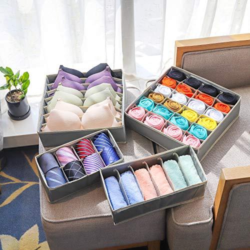Drawer Organisers Underwear, 4 Sets Drawer Dividers Collapsible Closet Organiser Storage Boxes for Bedroom, Wardrobe Organisers Clothes Organiser for Bras Socks Ties Scarves Handkerchief Organiser