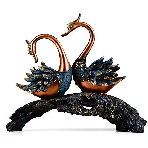 J.Mmiyi Swan Statues and Figurines Home Decor, Love Birds Couple Sculptures, Romantic Feng Shui Idol Wedding Gifts & Home Decor New Year Gifts, Gift for Mom Mother,A