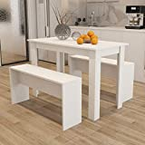 Zoyo Wooden Dining Table and Bench set Modern Kitchen Dining Room Furniture (White)
