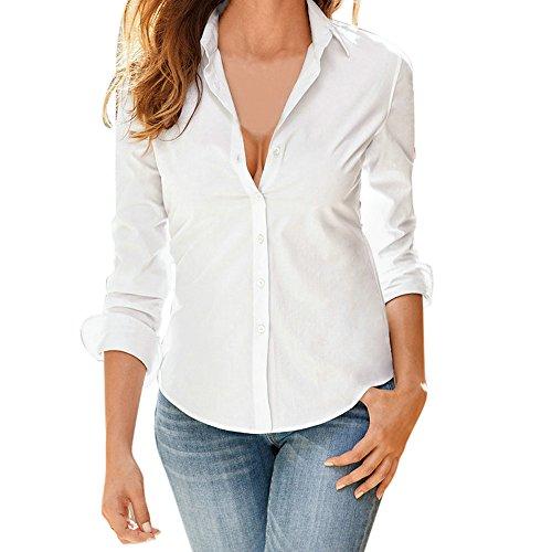 Blusa de Mujer BaZhaHei Camisa de Manga Larga para Mujer Formal Oficina Trabajo Uniforme Señoras Casual Tops para Mujer Camisetas de Solapa de Moda para Mujer Shirt Moda Manga Larga