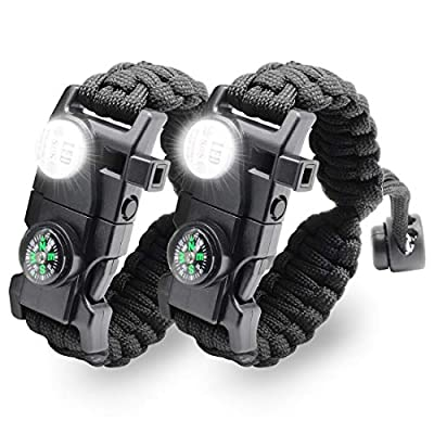 LeMotech 20 in 1 Adjustable Paracord Survival Bracelet, Tactical Emergency Gear Kit Includes SOS LED Flashlight, Compass, Rescue Whistle and Fire Starter-Outdoor Hiking Camping (Black 2Pcs)