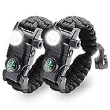 LeMotech Survival Bracelet, 20 in 1 Adjustable Survival Paracord Bracelet, Survival Gear Kit