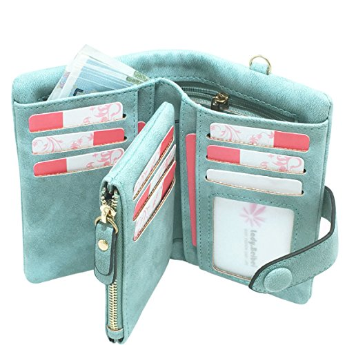 YOTOO Rfid Leather Wallets for Women Ladies Wristlet Clutch Large Capacity Zipper Purse for Coins Card Holder Organizer, Mint Green, Medium