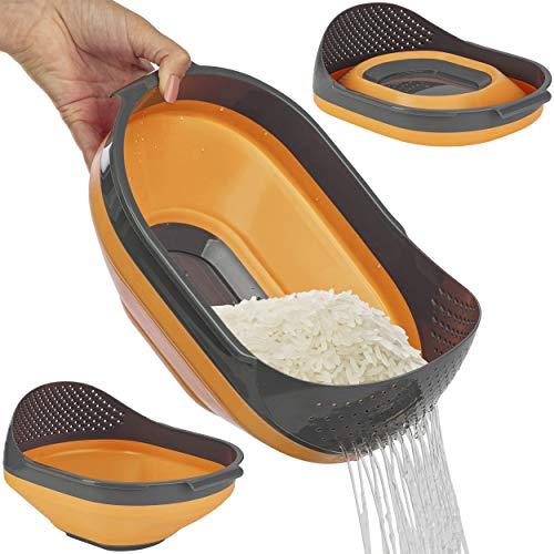 ONVAYA® Faltschüssel mit Sieb | Blau | Orange | Rot | Faltbare Schüssel | Multifunktionssieb | Multifunktionsschüssel | zum Waschen von z.B. Obst, Salat oder Reis | spülmaschinengeeignet (Orange)