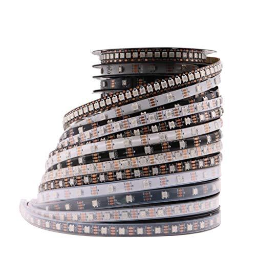 ZHUSHI WS2812B - Tira de LED inteligente RGB WS2812 (direccionable individualmente, 30/60/144 ledes), color negro y blanco PCB impermeable IP30/65/67 DC5V (color: negro PCB, tamaño: 5 m, 30 IP65)