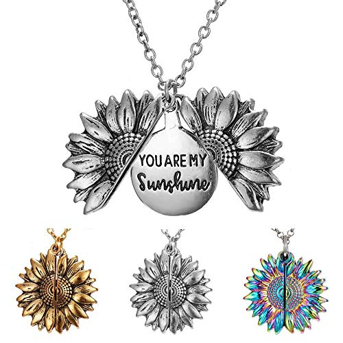 Sunflower Necklace for Women Girls You are My Sunshine Necklace Sunflower Locket Jewelry Pendant Chain Gifts