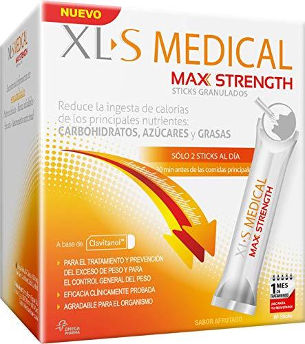 XL-S MEDICAL MAX STRENGTH TRIPLE ACTION - Bloqueador de la absorción de carbohidratos, azúcares y grasas. 60 sticks. Tratamiento de 1 mes