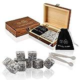 9 pièces pierres à whisky, pierres à whisky en granit, glaçons réutilisables avec sacs à cordon,