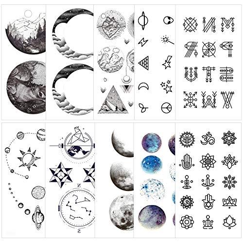 Konsait 78 Tatouage temporaire pour adulte enfants femme homme Tattoos Étanche Noir Tatouages Temporaires bras poignet body tattoo Sticker Tatouages éphémères, univers étoile lune planètes