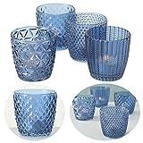 [page_title]-LS-LebenStil 4x Glas Teelichthalter Retro Blau 7cm Windlicht-Halter Kerzenständer