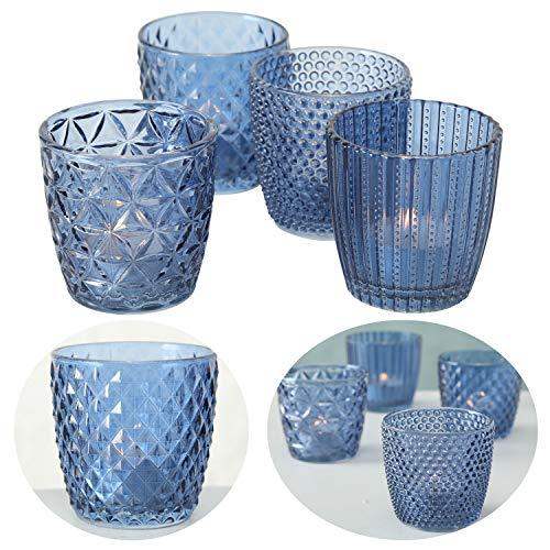 LS-LebenStil 4x Glas Teelichthalter Retro Blau 7cm Windlicht-Halter Kerzenständer