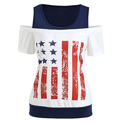 CAOQAO Damen-Trends Amerikanische Flagge Druck T-Shirt Kurzarm LäSsige Top Bluse