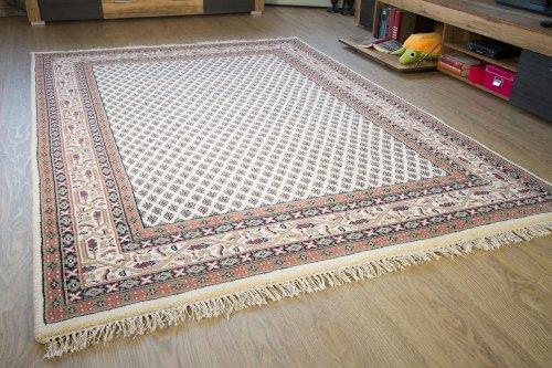 Sarough Mir Orientteppich beige - 100% Schurwolle - handgeknüpfter Orient Teppich, Größe: 80x400 cm