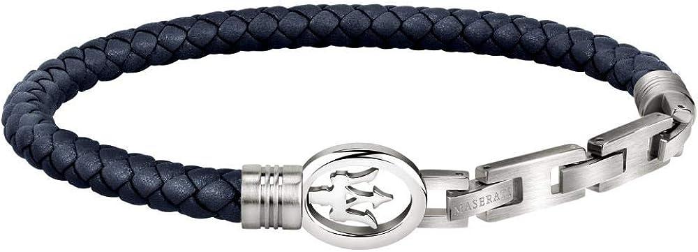 Maserati collezione jewels bracciale da uomo  in acciaio, poliuretano 8033288896449