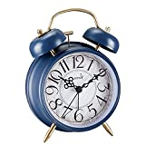 FLOITTUY Loud Alarm for Deep Sleepers 4'' Retro Twin Bell Alarm Clock with Backlight for Bedroom and Home Decoration (Retro Blue)