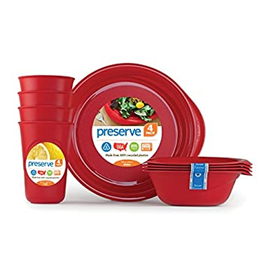 Preserve Everyday Tableware Set: Four Plates, Four Bowls and Four Cups, Pepper Red