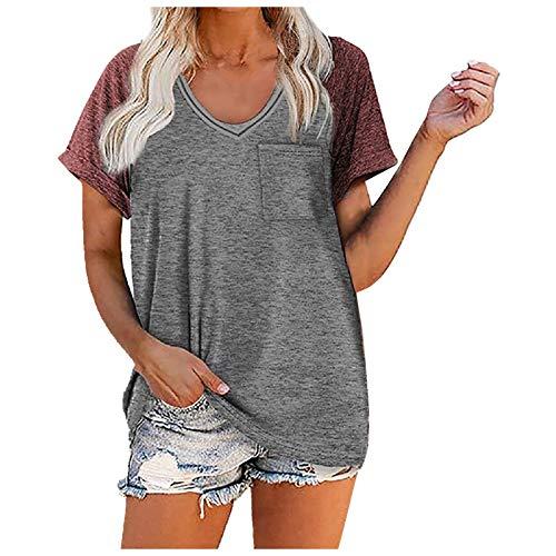 XOXSION Camiseta de verano para mujer, camiseta de manga corta, cuello en V, costuras, blusa de un solo color A rojo. S