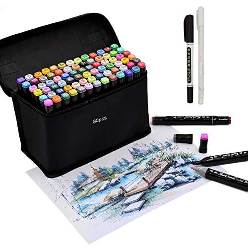 Touch cool 80 Farbige Stift Fettige Mark Farben Marker Set,Twin Tip Textmarker Graffiti Pens für Sketch Marker Stifte Set für Studenten (Schwarz, 80)
