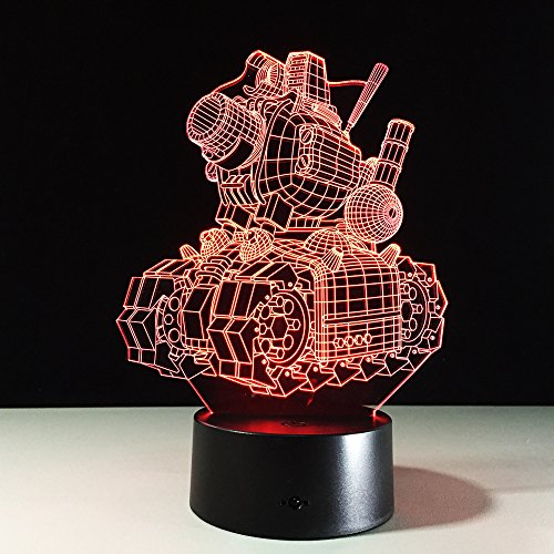 3D Illusione visiva Lampada da serbatoio per cartoni animati Lampada da notte in acrilico trasparente LED fata Lampada Lampa Colori che cambiano Touch Bulbing Light da tavolo