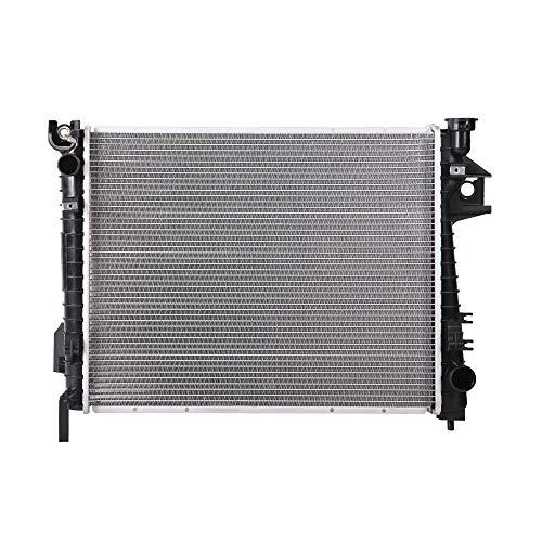 Lynol Cooling System Complete Aluminum Radiator Direct Replacement Compatible With 2002-2008 Dodge Ram 1500 Pickup Truck 2002-2003 Ram 2500 3500 With Filler Neck V6 V8 3.7L 4.7L 5.7L 5.9L