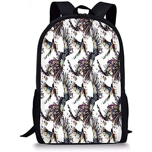 Hui-Shop Mochilas Escolares Acuarela, Lilly Patrón de Flores con pájaros voladores Fauna y Flora Imágenes Animales abstractas Niños Niñas