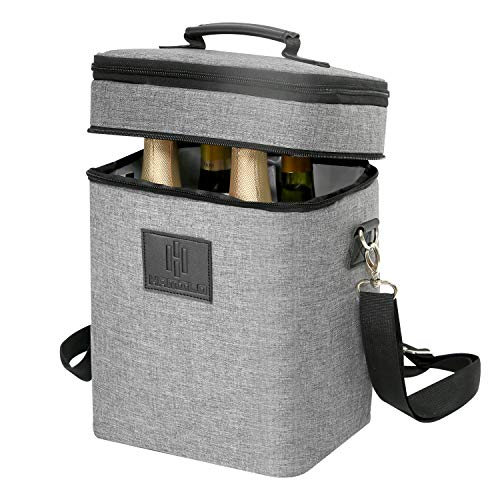 HAMILO 4 Bottle Wine Carrier, Waterproof and Leakproof Wine Tote Bag with Expandable Zipper and Padded Shoulder, Insulated Champagne Cooler Purse with Corkscrew Opener Holder (Gray)