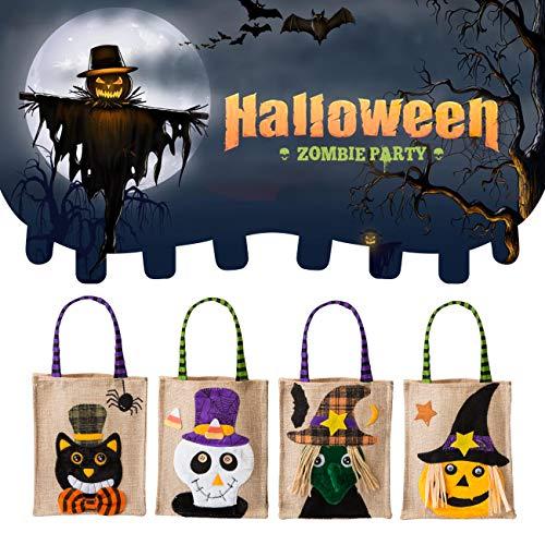 Kesote 4 Bolsas de Dulces de Halloween para Niños Bolsas de Alimentos con Lindo Adorno Bolsa de Regalo, 25 x 16 CM