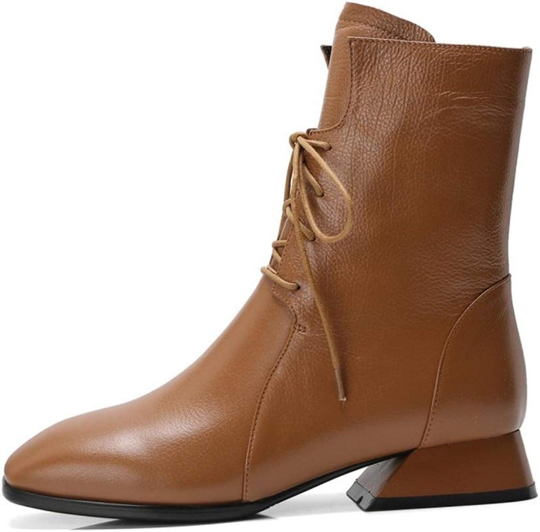 Woherrar mode stövlar Autumn Winter läder Oxford Martin stövlar stövlar stövlar Lace Up Low Heel stövlar utomhus gående skor svart bspringaaa (Färg  bspringaaa, Storlek  36)  den bästa after-sales-tjänsten