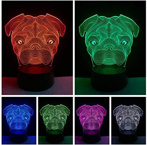 3D Cane carino Goggy Shar Pei Forma di cane Lampada a LED Baby Night Light Novità Camera da letto...