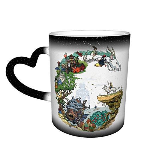 Studio Ghibli - Taza de porcelana con diseño de cielo estrellado que cambia de color, cerámica, uso en el hogar, oficina, protección del medio ambiente