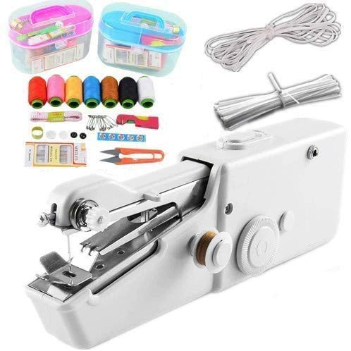 Handheld Sewing Machine, Mini Portable Cordless Handheld Electric Sewing Machine with Thread Kit, Quick Handy Stitch for Home or Travel use White