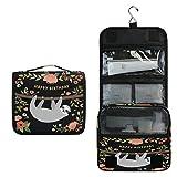 ALARGE Bolsa de aseo para colgar, con diseño de perezosos, flores, bolsa grande y portátil para cosméticos de viaje, organizador de maquillaje para mujeres y hombres