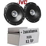 Lautsprecher Boxen JVC CS-J610X - 16cm Auto Einbauzubehör 300Watt Koaxe KFZ PKW Paar - Einbauset für Audi A3 8P - JUST SOUND best choice for caraudio
