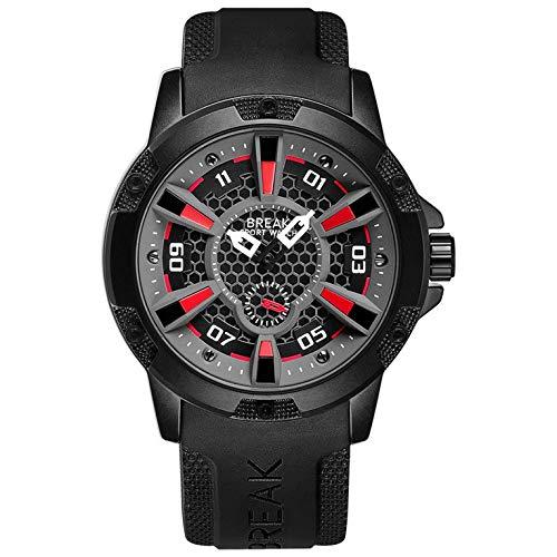 BREAK 5210 hombres reloj correa de goma impermeable reloj de cuarzo creativo personalizado casual deporte reloj