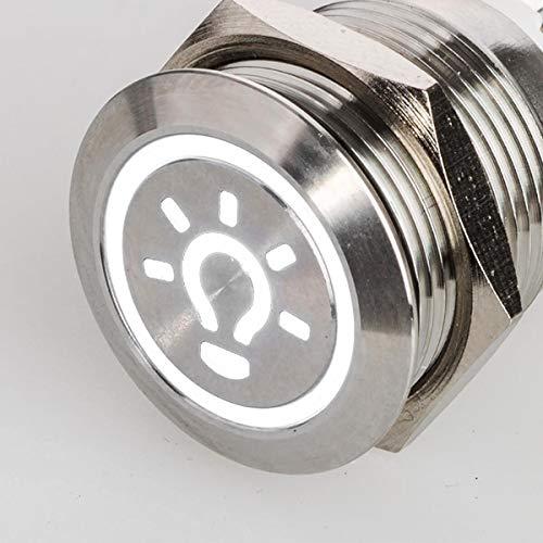 Flacher LED Druckschalter - mit Licht Symbol - Durchmesser Ø 19 mm - aus V2A Edelstahl - staub- und wasserdicht - 230 V - AC/DC - witterungsbeständig und langlebig - (Weiß)