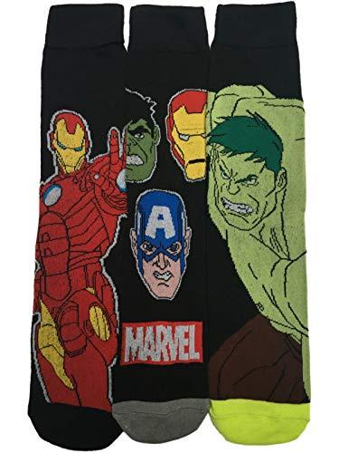 3paia di calzini da uomo/ragazzo con personaggi della Marvel Comics,taglia europea 39-45, ottima idea regalo