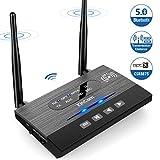 KinCam Trasmettitore e Ricevitore Bluetooth 3-in-1(TX/RX/Bypass), 5.0/80M Lunga Portata Wireless Trasmettitore Adattatore Bluetooth per TV, Stereo Domestico, AUX 3,5 mm, aptX HD e aptX Bassa latenza