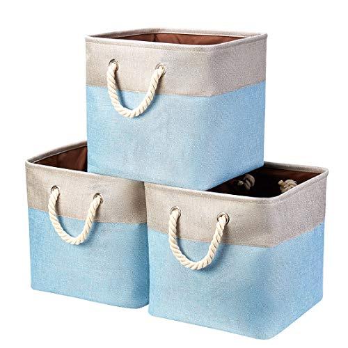 i BKGOO Paquete de 3 contenedores de Almacenamiento Plegables Cubo de Cesta organizadora de Tela con Asas de Cuerda de algodón para estantes de Oficina en casa Ropa Juguetes Caqui-Azul 33×33×33cm
