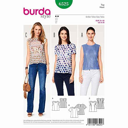 Burda 6525 Schnittmuster Top und Bluse mit Teilungsnähten (Damen, Gr. 34-46) Level 2 leicht