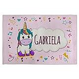 Mantel Unicornio Personalizado con Nombre. Mantel Individual. Lino. Varios diseños a Elegir. Unicornio Rosa