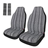 Copap Universal Stripe Colorful 4pc Front Seat Covers Baja Bucket Seat Cover Black/White Saddle Blanket with Seat-Belt Pad Protectors for Car, SUV & Truck